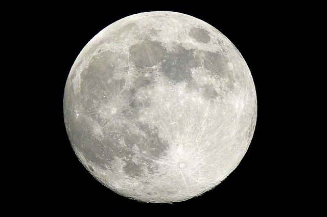 large full moon, silver colored