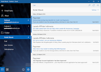 Menu Setting di aplikasi Email di Windows 10