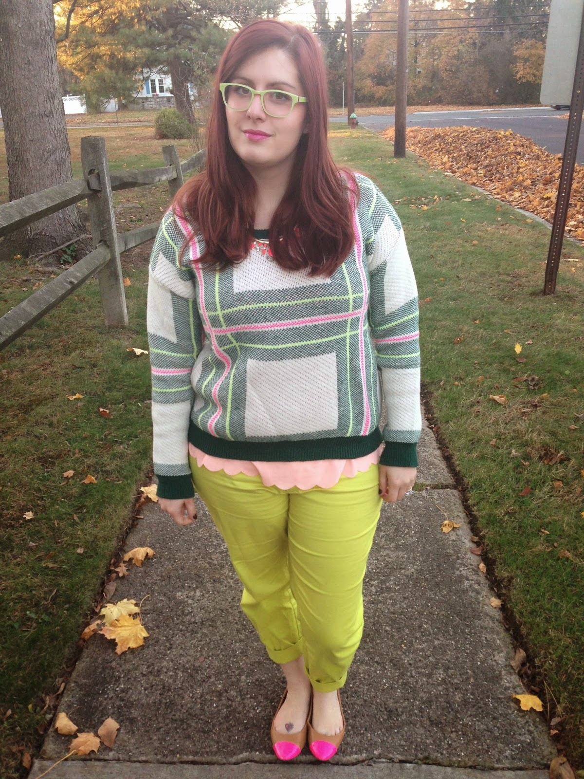 7da8cd54070 I went with the same outfit but different neon pants   cap toe flats!