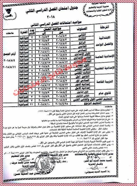تعرف على الجدول الرسمى لمواعيد امتحانات الشهادة الاعدادية 2018 بمحافظة الشرقية