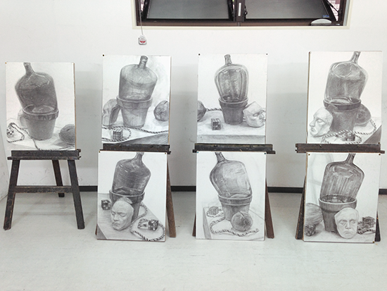横浜美術学院の中学生教室 美術クラブ 夏休み美術教室 完成した作品