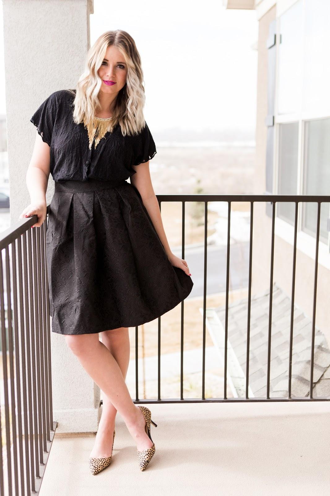 Tara Lynn's, Skirt, All Black, Fashionest Necklace