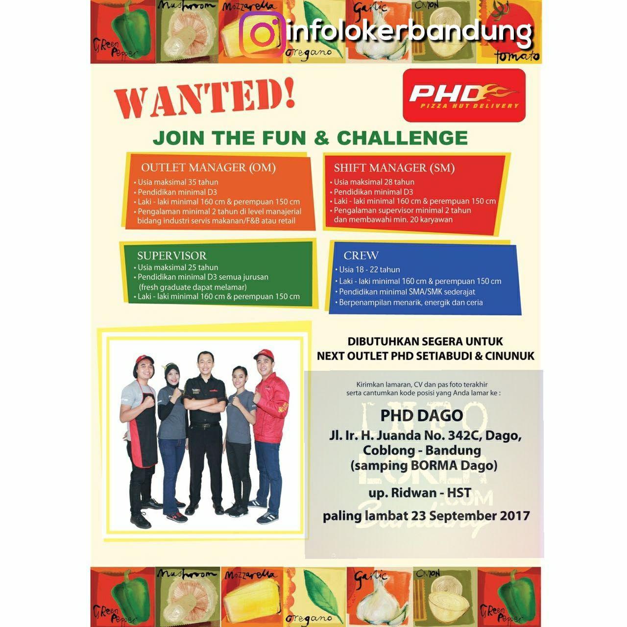 Lowongan Kerja Pizza Hut Delivery (PHD) Bandung September 2017