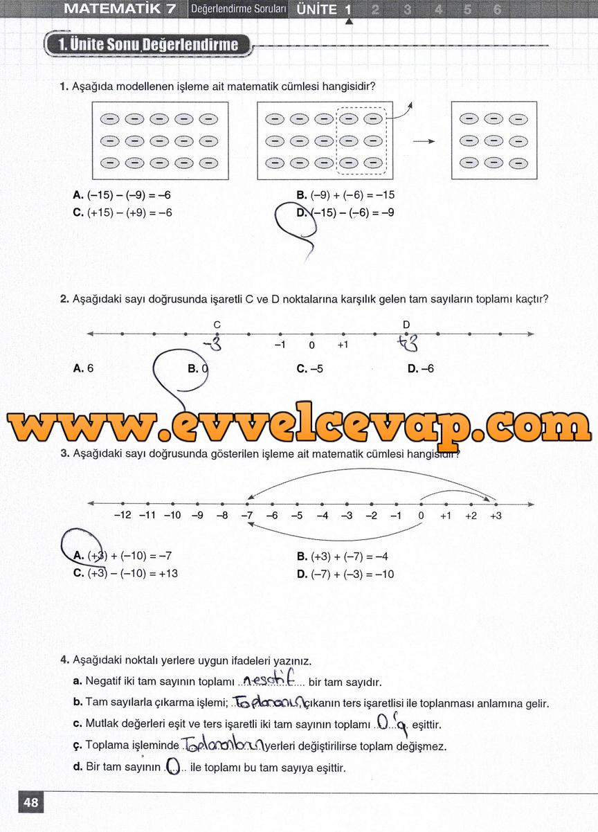 7. Sınıf Matematik Koza Yayınları 48. Sayfa Cevapları