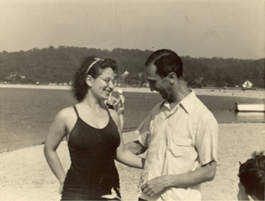 Luria pictured with his American wife, Zella, at Cold Spring Harbour, on the north shore of Long Island