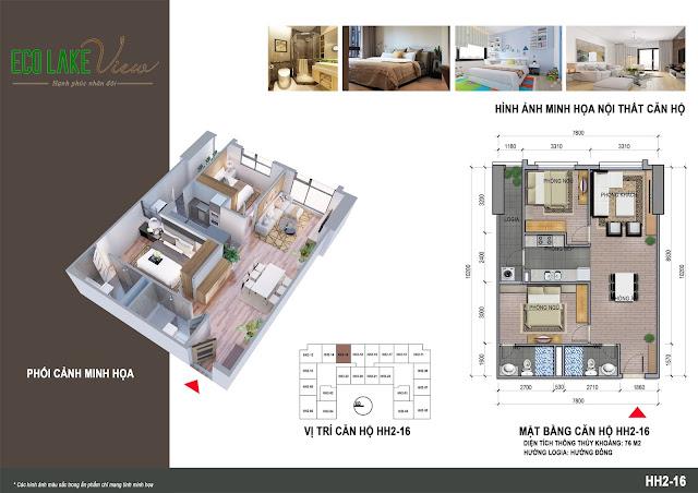 Thiết kế căn hộ B1-16 chung cư Eco Lkae View