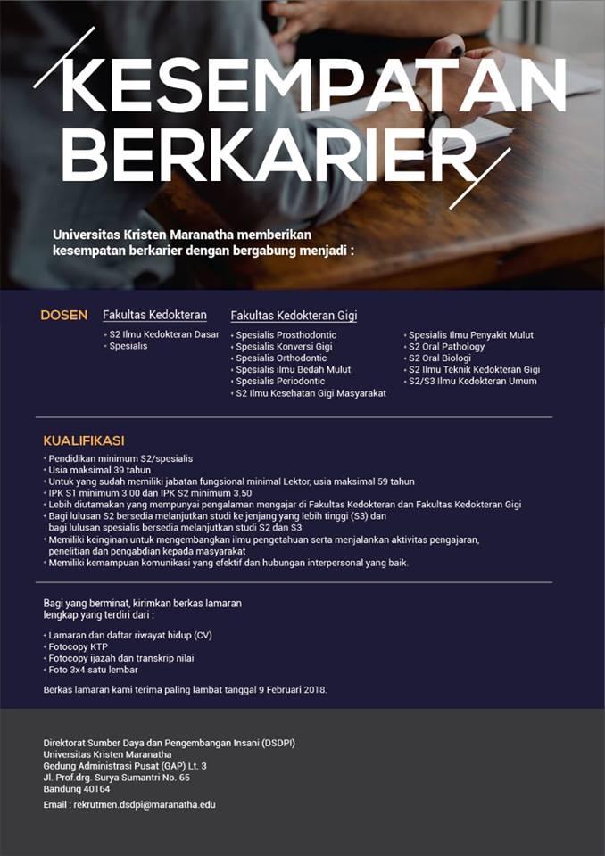 Lowongan Dosen Kedokteran Gigi Universitas Kristen Maranatha Bandung