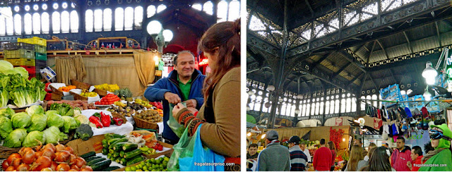Barraca de hortaliças no Mercado Central de Santiago do Chile