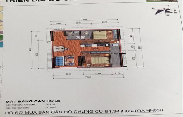 Sơ đồ thiết kế căn hộ 28 chung cư B1.3 HH03B Thanh Hà Cienco 5
