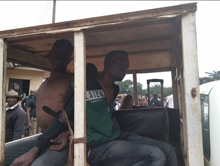 Notorious Student Robbers Terrorising UNN Caught and Paraded Publicly in Nsukka (Photos+Video)