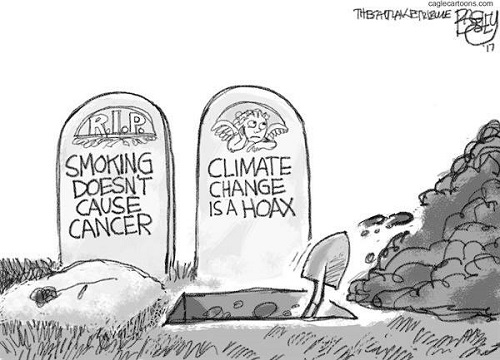 Toon of the Week - Smoking Doesn't Cause Cancer / Climate Change Is a Hoax (Credit: Hat tip to Stop Climate Science Denial Facebook Page) Click to Enlarge.