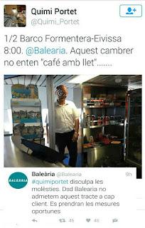 Quimi Portet, denuncia, Twitter, camarero, Balearia.