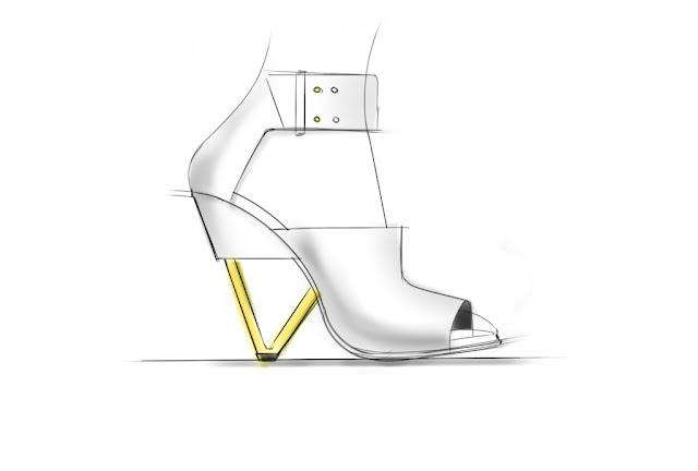 Ankle Strap Sandal with Architectural Heel Sketch by ABCENSE