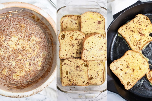 Step by step photos of how to make eggnog french toast