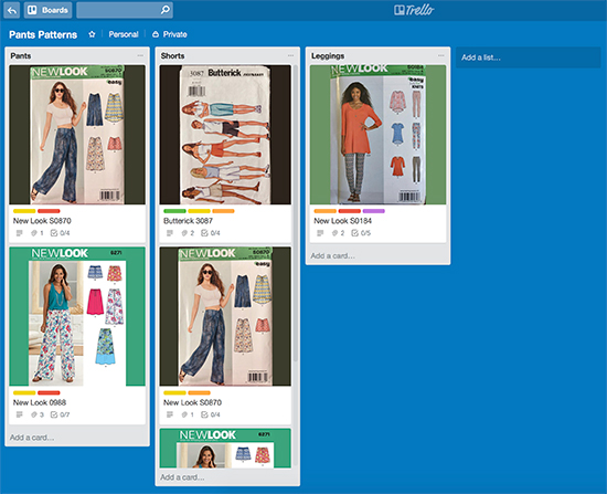 Trello Board for Pants Sewing Patterns