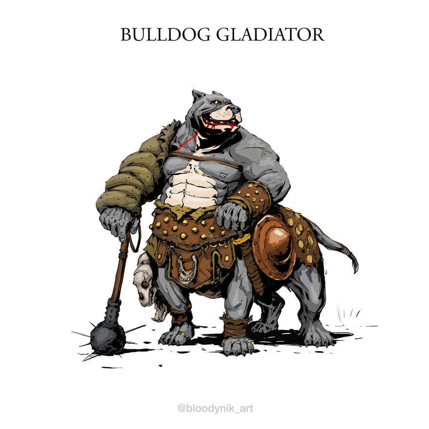 09-Bulldog-Gladiator-Nikita-Orlov-Mythical-Dog-Centaur-Digital-Paintings-www-designstack-co