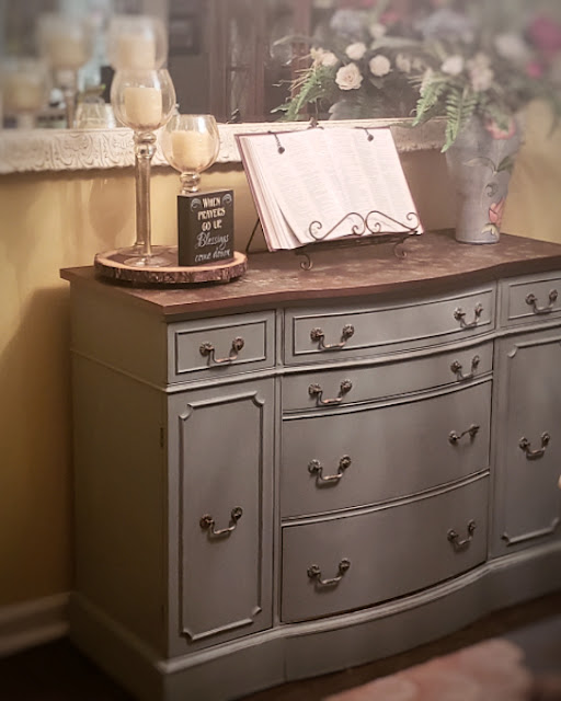 vintage buffet transformation using chalk paint color of Vintage Duck Egg from Dixie Belle