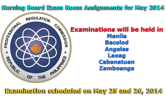 Nursing Board Exam Room Assignments for May 2014