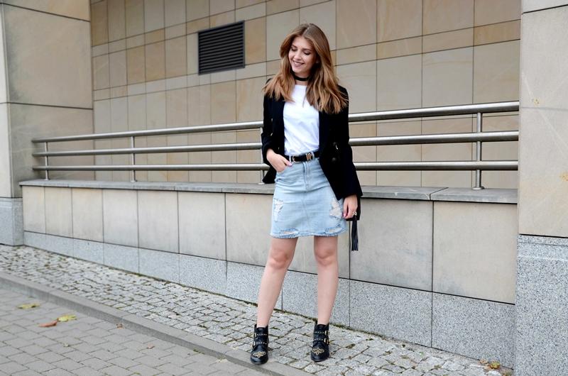 White T-shirt & Denim Skirt