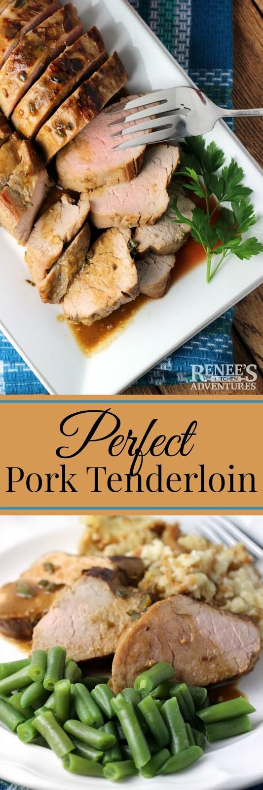 Perfect Pork Tenderloin | Renee's Kitchen Adventures - easy pork tenderloin recipe cooked to perfection. Makes a great weeknight dinner idea. #OhioPork