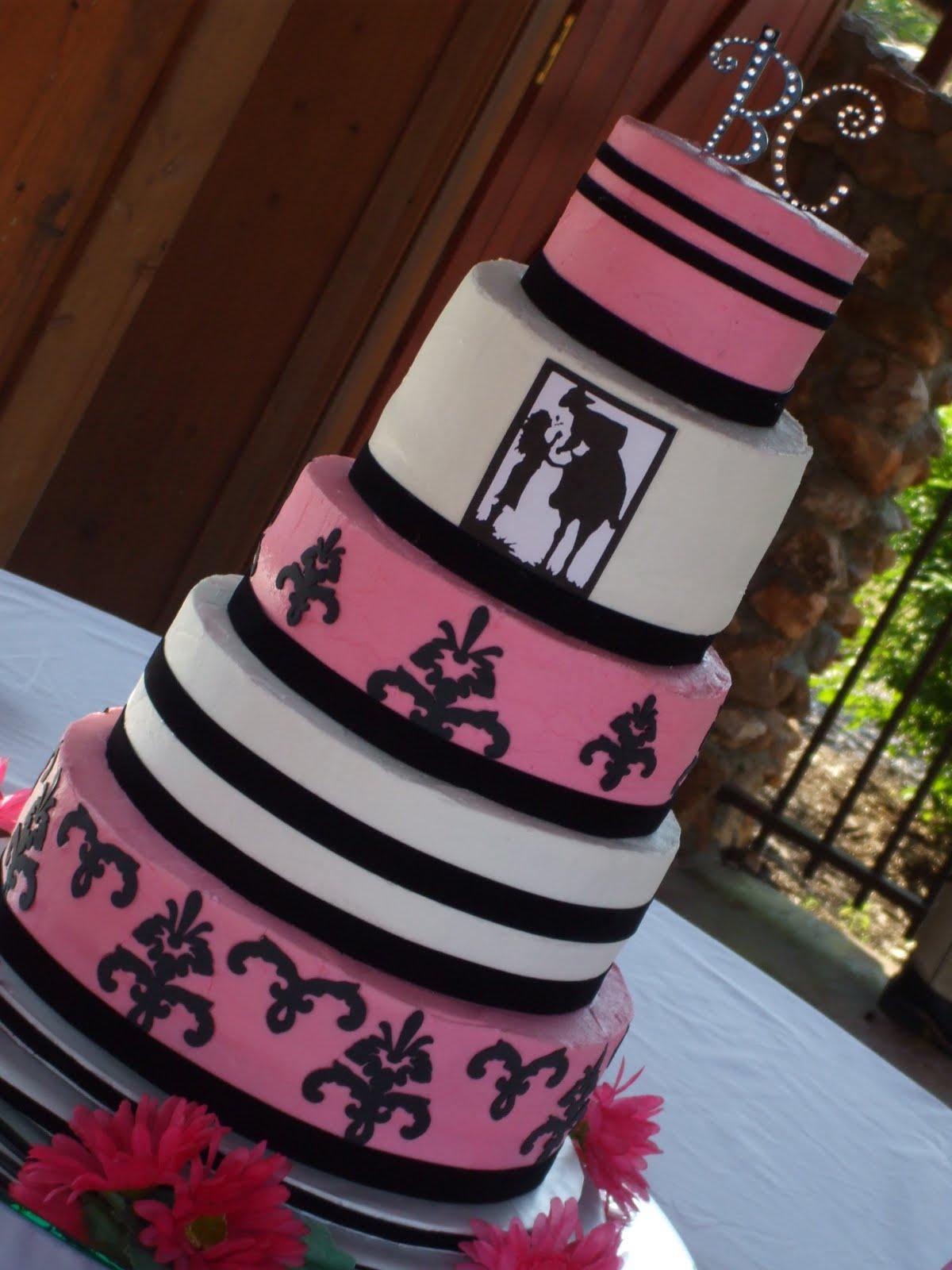 Pink Black Western Theme Wedding Cake