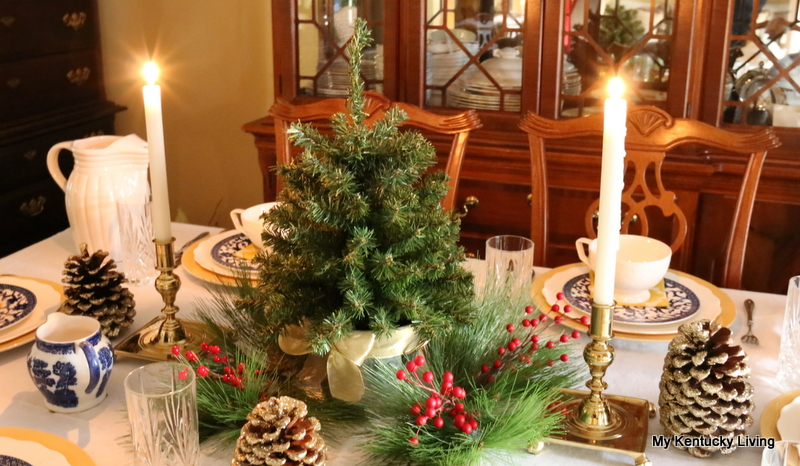 dishes, china, tabletop christmas tree, Williamsburg candlesticks