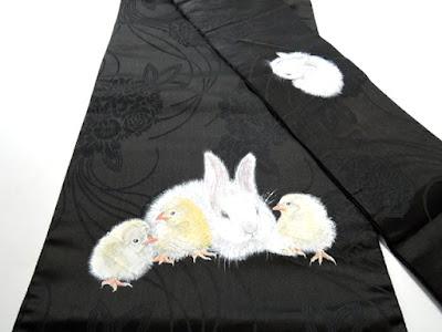 ウサギと雛の可愛らしいデザインアンティーク