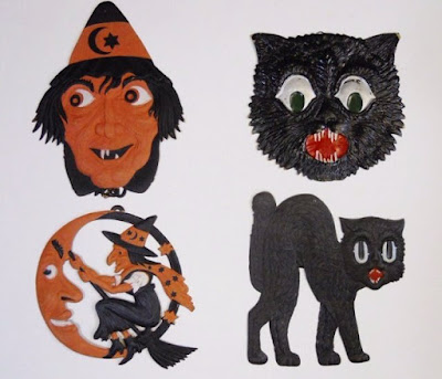 An interesting collection of witches and black cats, and a moon, are well know images of holidays past.