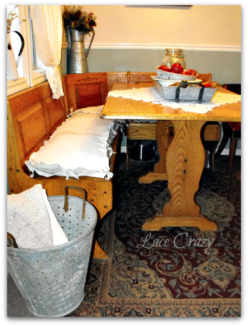Lace Crazy Homemade Cushions For The Corner Kitchen Nook