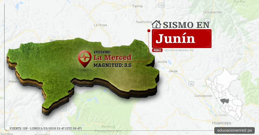 Temblor en Junín de magnitud 3.5 (Hoy Lunes 5 Marzo 2018) Sismo EPICENTRO La Merced - Chanchamayo - Perené - Pichanaqui - San Ramón - Vítoc - IGP - www.igp.gob.pe