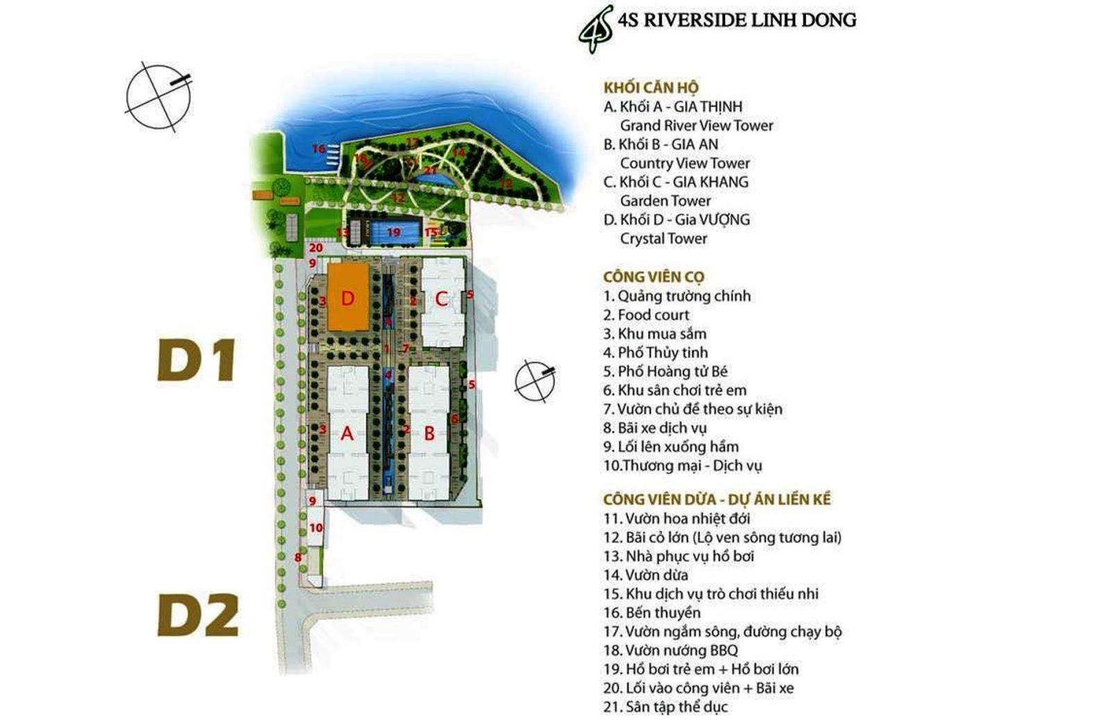 Mặt bằng tổng thể và tiện ích dự án căn hộ 4S Linh Đông Thủ Đức HCM
