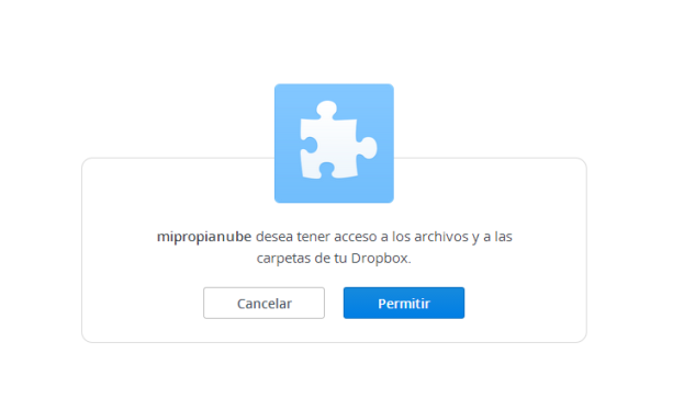 dar permiso a la conexión en nuestro Dropbox.