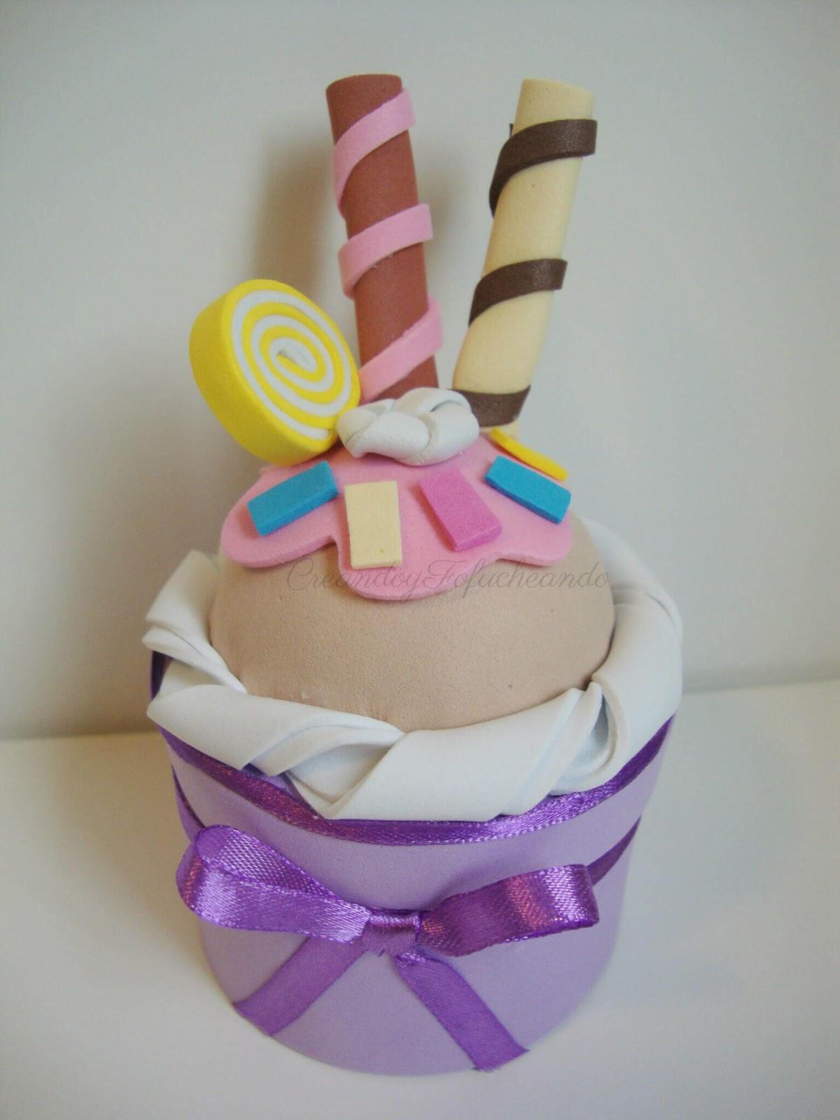 cupcake paso a paso en goma eva handbox craft lovers