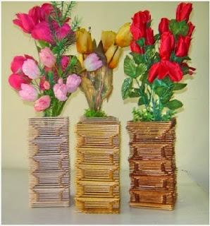 Kerajinan stik es krim Vas bunga