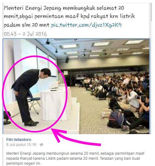 menteri energi jepang membungkuk