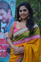 Actress Srushti Dange Latest Pos in Yellow Silk Saree at Saravanan Irukka Bayamaen Tamil Movie Press Meet  0008.jpg