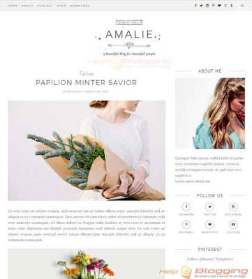 Amalie Responsive, Clean, Simple design For Business, Photography, Fashion, Lifestyle, Beautician blog etc Premium design  Free Premium template Amazing typography Girly Right Sidebar Minimalist SEO optimized White color 2 Columns layout 3 Columns Footer Blogger Template Download