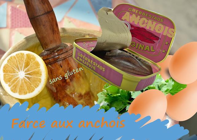farce aux anchois, oeufs durs, persil, huile d'olive, sans gluten