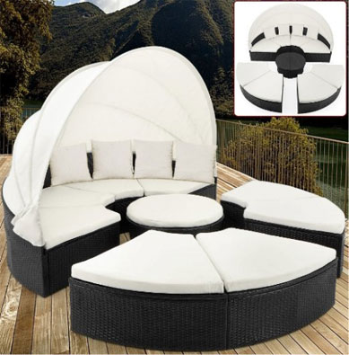 Rattan Garden Day Bed Garden Furniture with Roof White Canopy, Round Outdoor Daybeds UK, Outdoor Daybeds UK, Daybeds UK, Outdoor Daybeds at Amazon.co.uk, Amazon.co.uk, Best Outdoor Daybeds, Outdoor Furniture, Quality Outdoor Daybeds,