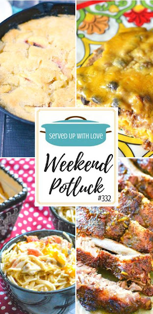 Enchilada Casserole, Peach Cobbler, Cheesy Mexican Chicken Spaghetti, and The Best Grilled Pork Ribs are featured recipes at Weekend Potluck 332 at Served Up With Love.