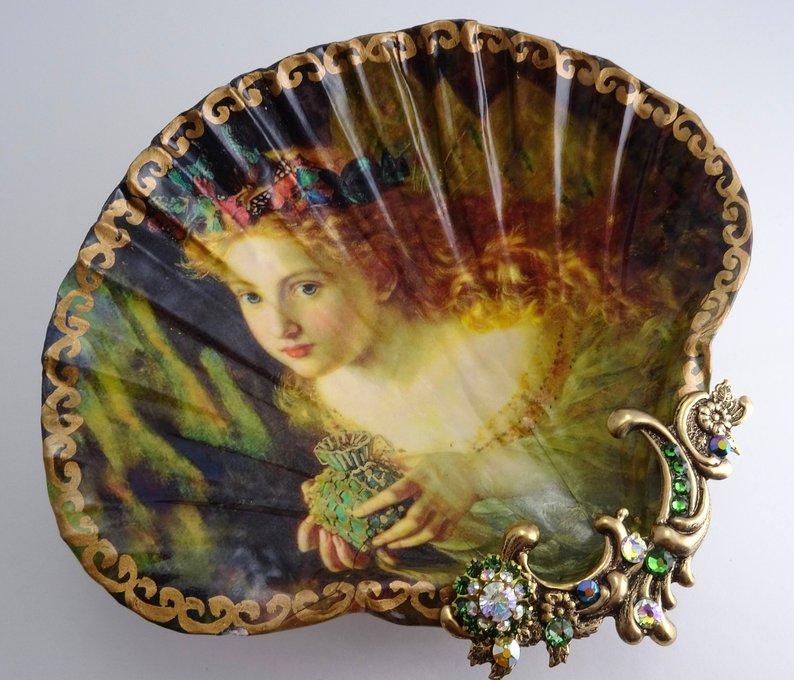 Ring Dish Shell Jewelry Dish Mermaid By John William Waterhouse Trinket Dish