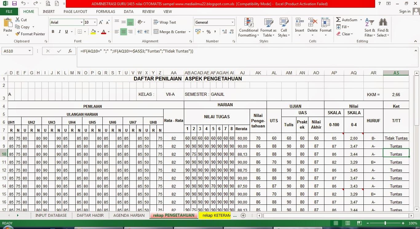 Format Penilaian Kurikulum 2013 Administrasi Guru Versi Otomatis Penelitian Tindakan Kelas