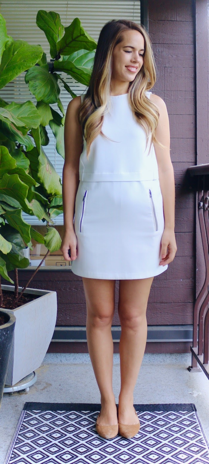 Jules in Flats - Aritzia White Shift Dress