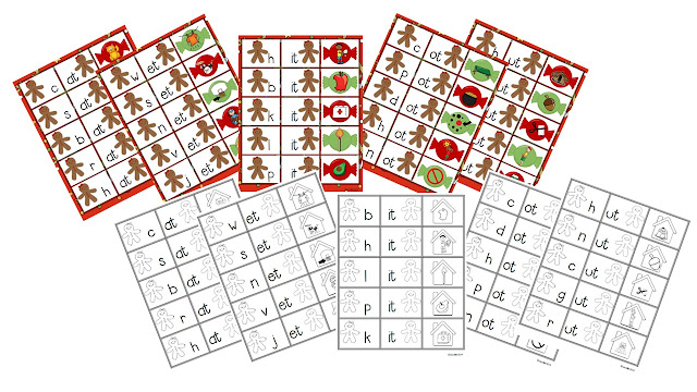 Onset and rime and a gingerbread cookie! Use these 3-way cards to do multiple activities. Match onset to rime, onset to picture, or rime to picture.