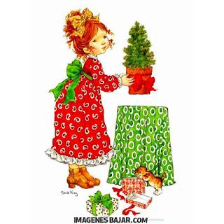 Tarjeta navideña clásica Niña y gatito recibiendo regalos Bello dibujo navideño