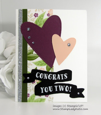 Wedding card made with Stampin'UP!'s Floral Romance DSP, Be Mine Stitched Framelits, Bunch of Banners Framelits and Banners for You Stamp Set
