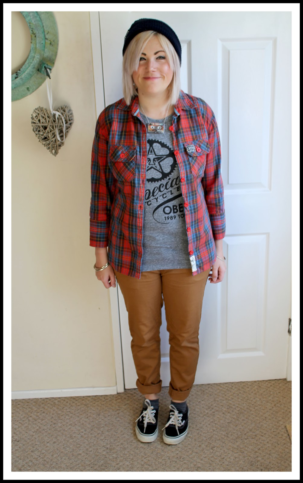 casual outfit post with shirt, chinos and vans