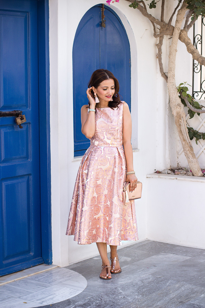 Chicwish Pink Brocade Maxi Flare Dress