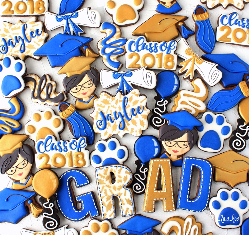 Custom graduation chocolate sugar cookies