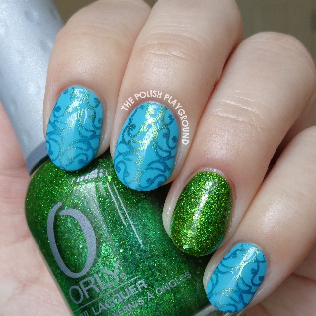 Bright Blue with Golden Green Swirly Pattern Stamping Nail Art